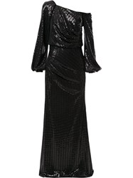 Badgley Mischka Asymmetric Sleeve Sequin Gown 60