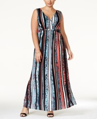 Ny Collection Plus Size Printed Surplice Maxi Dress Turquoise Leostripe