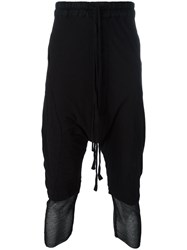 Thom Krom Mesh Hem Drop Crotch Trousers Black