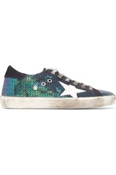 Golden Goose Deluxe Brand Super Star Distressed Suede Trimmed Sequined Canvas Sneakers Green
