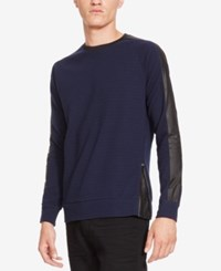 Kenneth Cole New York Men's Textured Colorblocked Long Sleeve T Shirt Blue