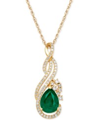 Macy's Emerald 1 1 10 Ct. T.W. And Diamond 1 5 Ct. T.W. Pendant Necklace In 14K Gold