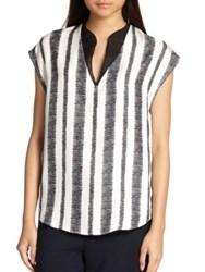 3.1 Phillip Lim Striped Silk Tunic Top Black White