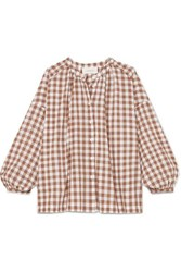 The Great Handsome Oversized Gingham Cotton Voile Shirt Brown