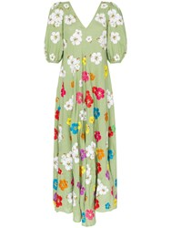 All Things Mochi Tila Floral Embroidered Linen Maxi Dress Green
