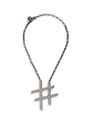 Lanvin 'Hashtag' Glass Crystal Pendant Necklace Metallic