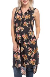 Lilac Clothing Women's Print Maternity Tunic Black Gold Floral
