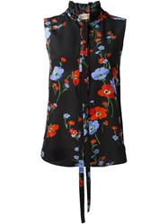No21 Floral Print Sleeveless Blouse Black