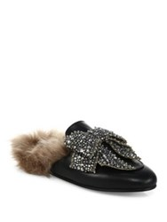 Gucci Princetown Jeweled Leather And Fur Loafer Slides Black