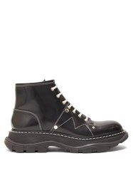 Alexander Mcqueen Exaggerated Sole Leather Boots Black White