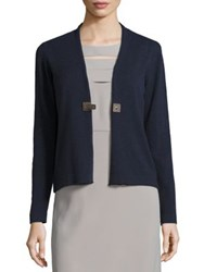 Peserico Virgin Wool Silk And Cashmere Cardigan Navy