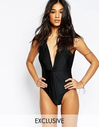 Wolf And Whistle Twist Macrame Trim Swimsuit B F Cup Black
