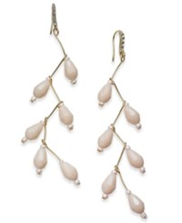 Inc International Concepts Gold Tone Beaded Linear Drop Earrings Created For Macy's Pink