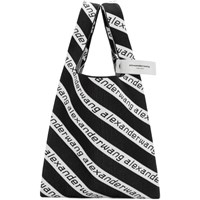 Alexander Wang Black And White Large Jacquard Logo Shopper Tote