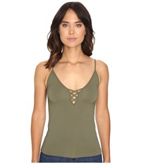 Free People The Cross Fire Lace Up Cami Green Women's Sleeveless