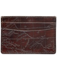 Patricia Nash Men's Leather Map Card Case Rust