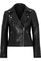 Muubaa Woman Quilted Leather Biker Jacket Black
