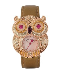 Betsey Johnson Pave Owl Case Watch Brown