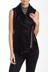 Fate Faux Embossed Asymmetrical Vest Black