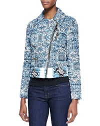 Just Cavalli Cyan Kennet Print Short Light Puffer Jacket Light Blue