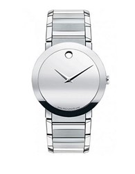 Movado Mens Sapphire Watch Silver