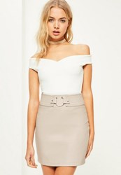 Missguided Cream Pierce Ring Belted Faux Leather Mini Skirt