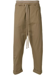 Thom Krom Cropped Dropped Crotch Trousers Green