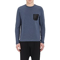 Barneys New York Men's Mesh Pocket Long Sleeve T Shirt Blue