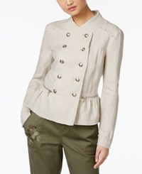 Inc International Concepts Linen Peplum Military Jacket Only At Macy's Toad Beige