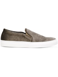 Joshua Sanders Snakeskin Effect Slip On Sneakers Grey