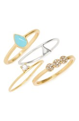 Madewell Set Of 4 Stack Rings Blue Haze