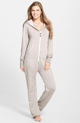 Women's California Creative Republic 'Classic' French Terry Hooded Jumpsuit Oatmeal Pink