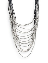 Natasha Layered Multi Strand Necklace Silvertone Black Silver