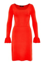 Hallhuber Knit Dress With Flounce Sleeves Tomato