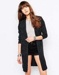 Only Cable Knit Longline Cardigan Dark Grey Melange