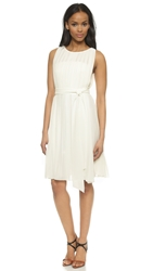 L'agence Mid Length Pleated Dress White