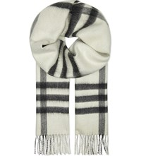 Burberry Metallic Checked Reversible Cashmere Scarf Natural White
