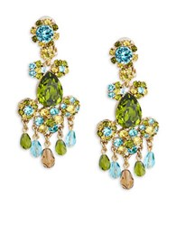 Oscar De La Renta Goldtone Faceted Crystal Chandelier Earrings Blue