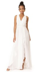Badgley Mischka Collection Ruffle Front V Neck Gown Ivory