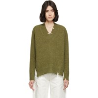 Maison Martin Margiela Green Destroyed V Neck Sweater