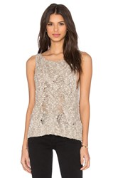 Enza Costa Cable Knit Boatneck Shell Tank Beige