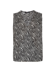 Morgan Zebra Striped Chiffon Sleeveless Top Black