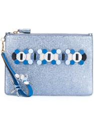Anya Hindmarch Circulus Large Pouch Clutch Women Calf Leather One Size Blue