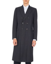Dries Van Noten Royce Long Double Breasted Coat Navy