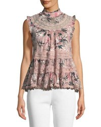Kate Spade Botanical Chiffon Sleeveless Top Pink
