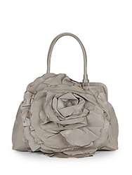 Valentino Leather Rosette Satchel Grey