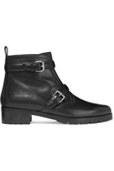 Tabitha Simmons Aggy Buckled Leather Biker Boots Black