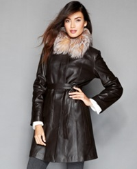 The Fur Vault Fox Fur Collar And Rabbit Fur Lined Leather Walker Coat Brown Crystal