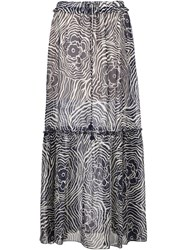 See By Chloe Floral Print Maxi Skirt Blue