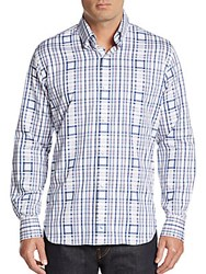 Tailorbyrd Regular Fit Plaid Square Cotton Sportshirt Navy